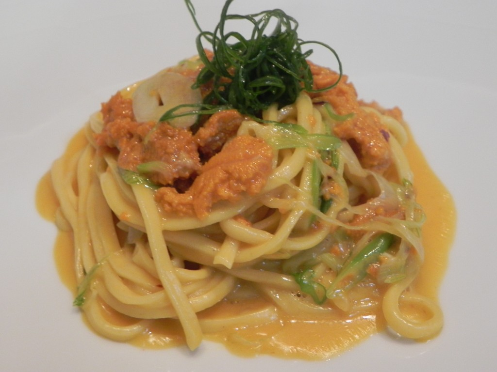 Spaghetti alla Chitarra with Santa Barbara Sea Urchin and Green Onions