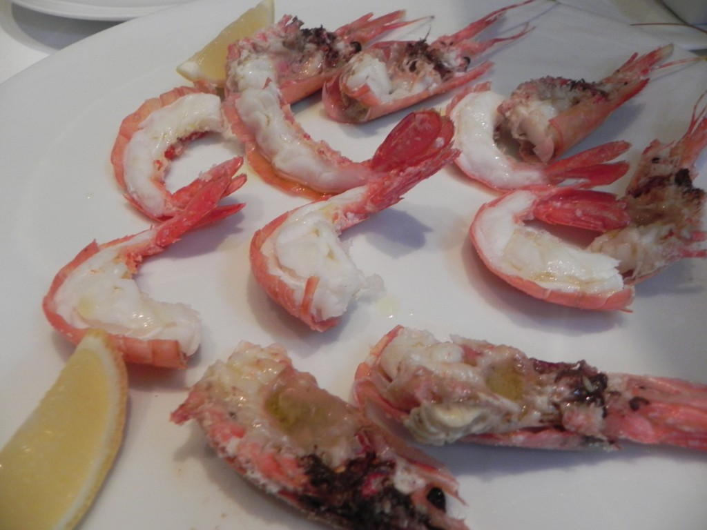 Spot prawns baked in salt and prepared tableside