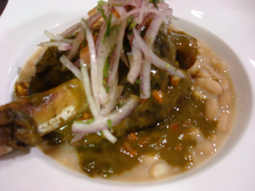 Lamb Shank with Canario Beans, Cilantro and Beer Sauce