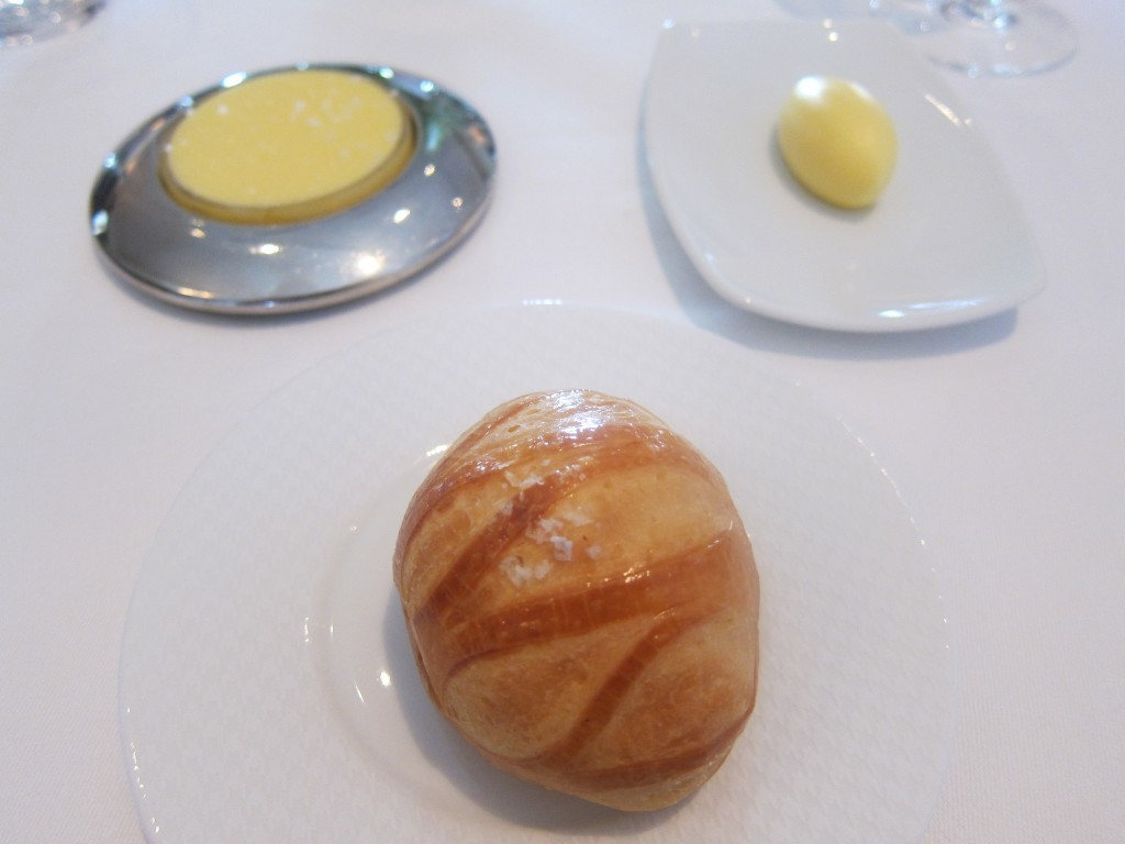 """Bouchon Roll"" (Pan au Lait) with unsalted butter from Petaluma and salted butter from Vermont"