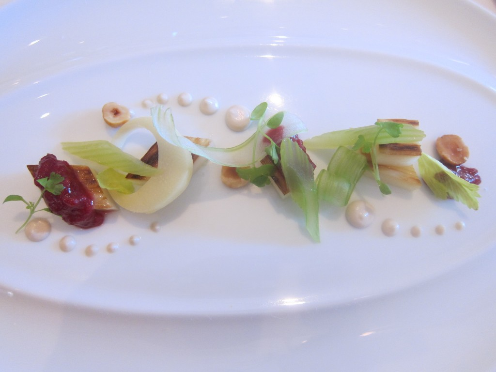 Salde of Roasted Hawaiian Hearts of Palm with Celery Branch, Piedmont Hazelnuts and Cranberry Relish