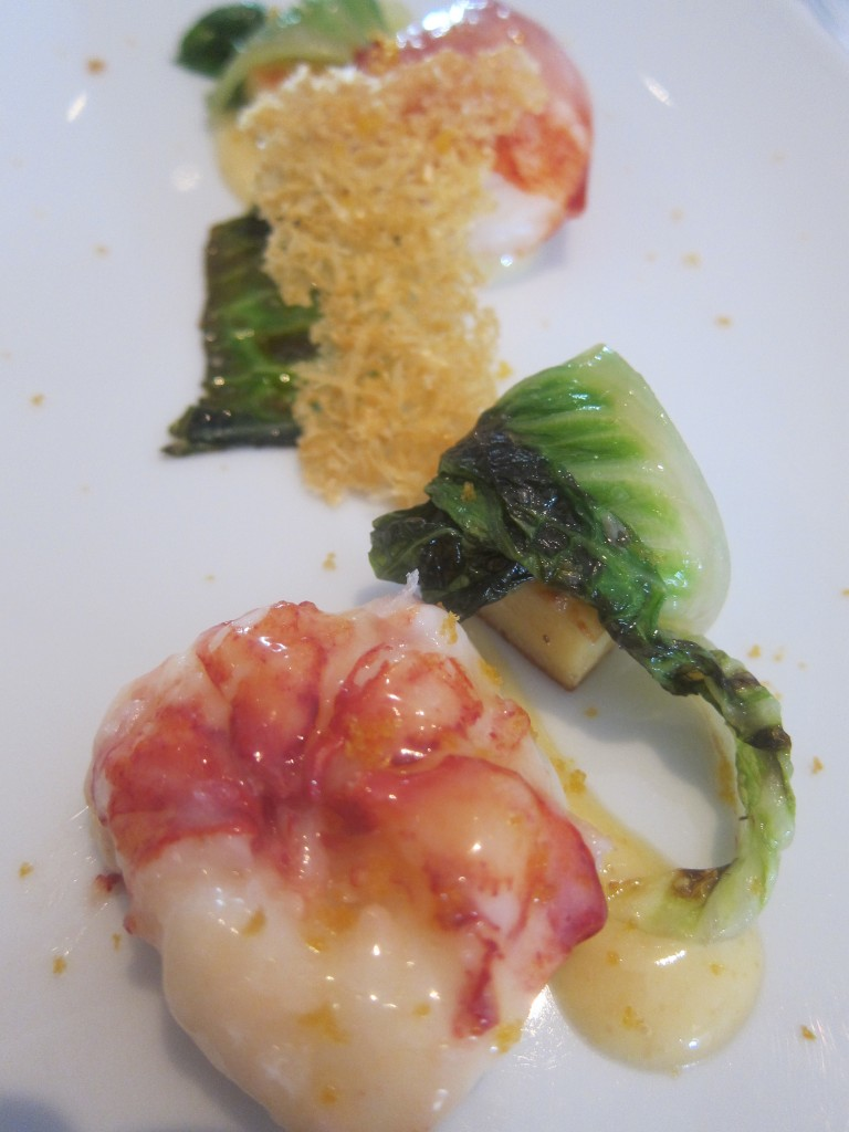 """Caesar Salad"" with Sweet Butter-Poached Maine Lobster, Caramelized Romaine Lettuce, Garlic ""Pain Perdu,"" Parmesan Crisp and ""Bottarga di Muggine"""
