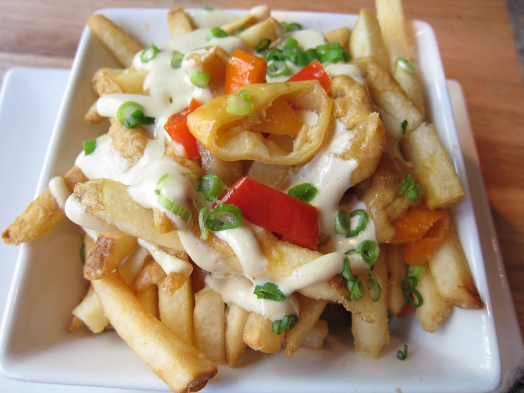 "PIGG Style Fries with pickled peppers, ham puree & ""brainaise"" sauce"