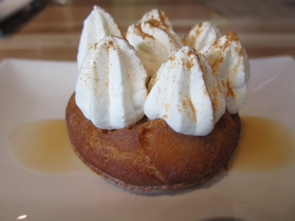 Tres Leches Donut fried and soaked to order with cajeta and ceylon cinnamon