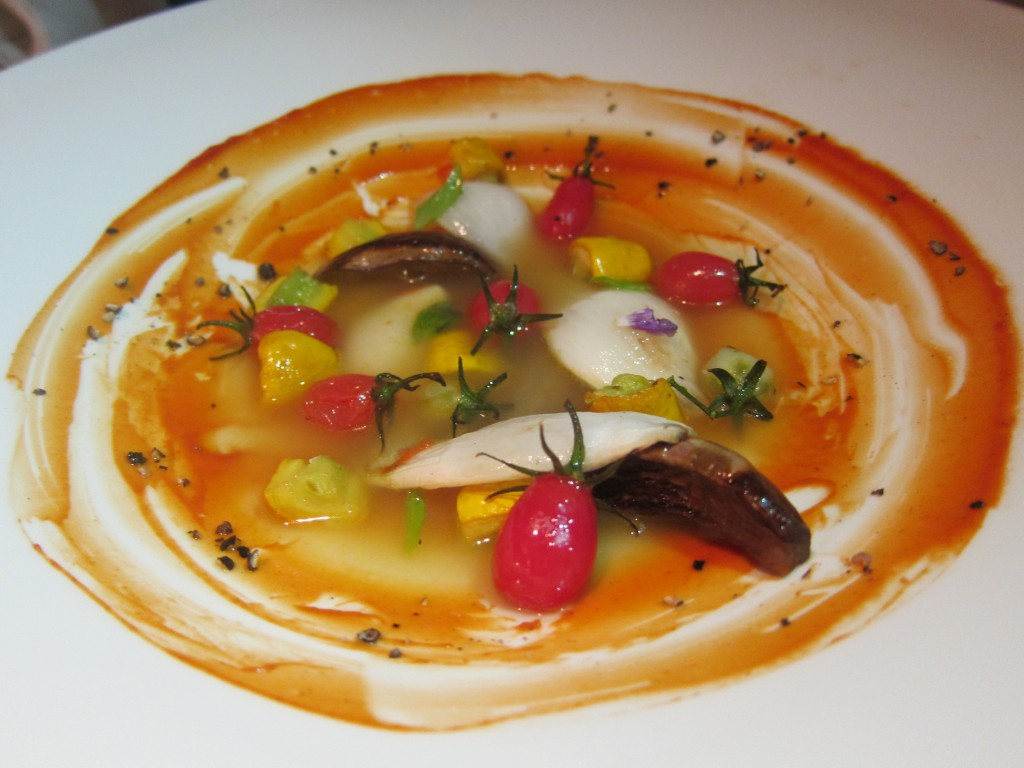 """Ratatouille \ Tomato"" -- Dehydrated Vegetable Ratatouille, Japanese Tomato, Lemon Basil, Squash Broth"