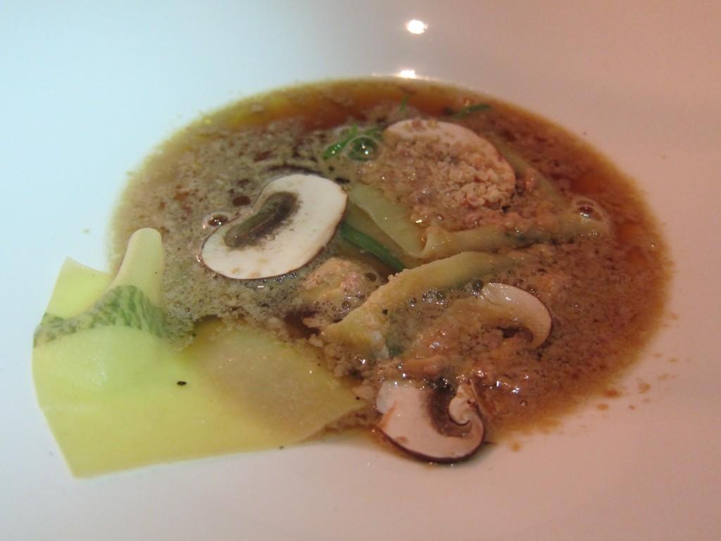 """""""Foie Gras \ Tarragon"""" --  Dry-Aged Beef """"Bouillon,"""" Foui Gras Fondue, Tarragon Printed Pasta, Crimini Mushroom"""