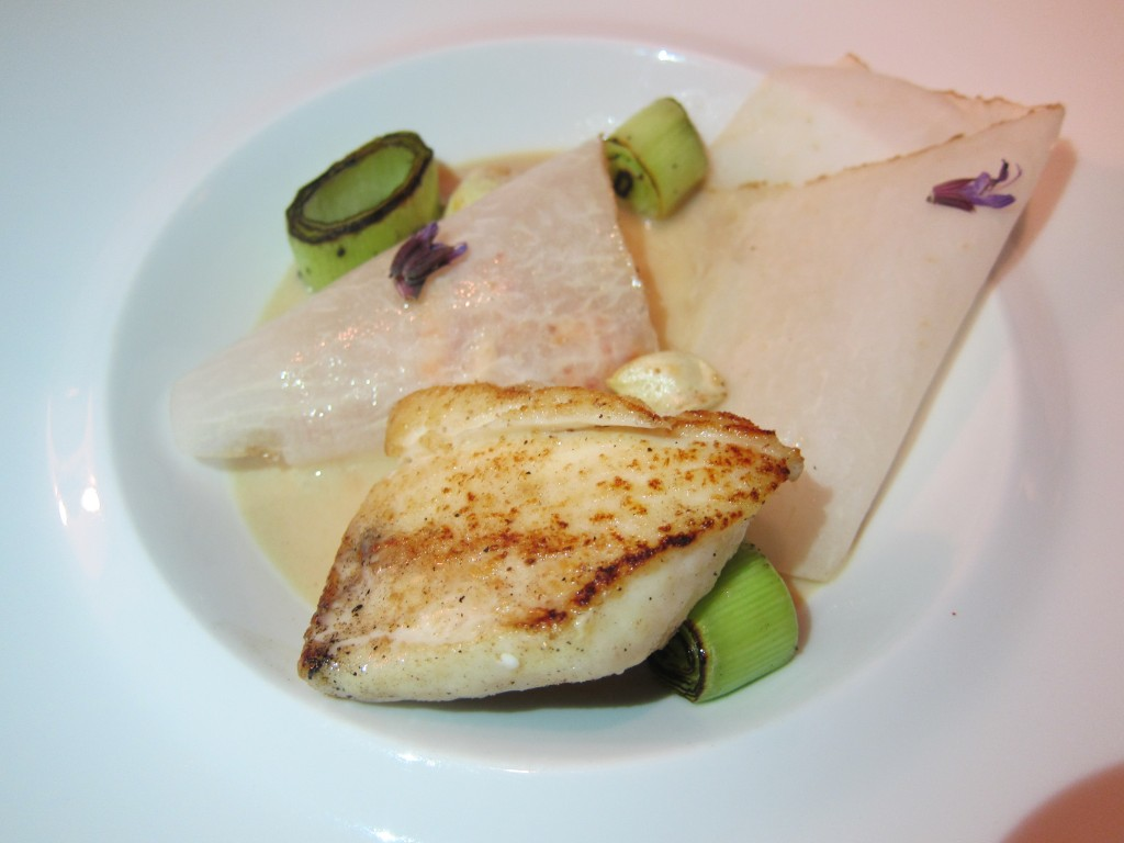 """Halibut / French Leeks"" -- ""MR"" Seared Halibut Filet, Ajo Dungeness Crab, Charred French Leeks"