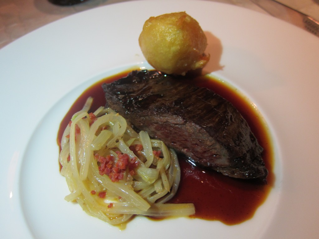 """Wagyu / Mulberry"" -- Wagyu Rib Eye Cut Double Seared, Swiss Chard Chorizo ""Noodles,"" Bone Marrow Tempura, Mulberry Sauce"