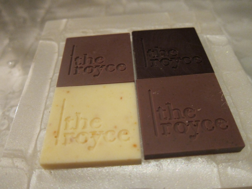Milk Chocolate with Ground Espresso Beans, Dark Chocolate with Sea Salt, and White Chocolate with Espelete Pepper