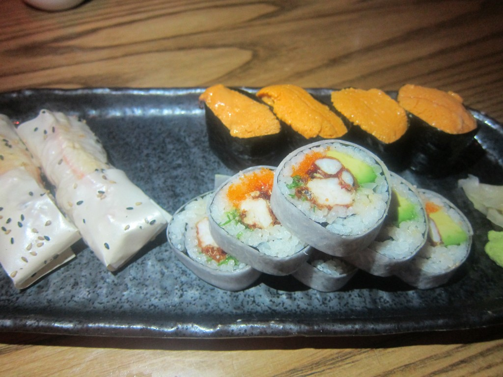 Soft Shell Crab Roll, Uni Sushi and Crab Hand Rolls