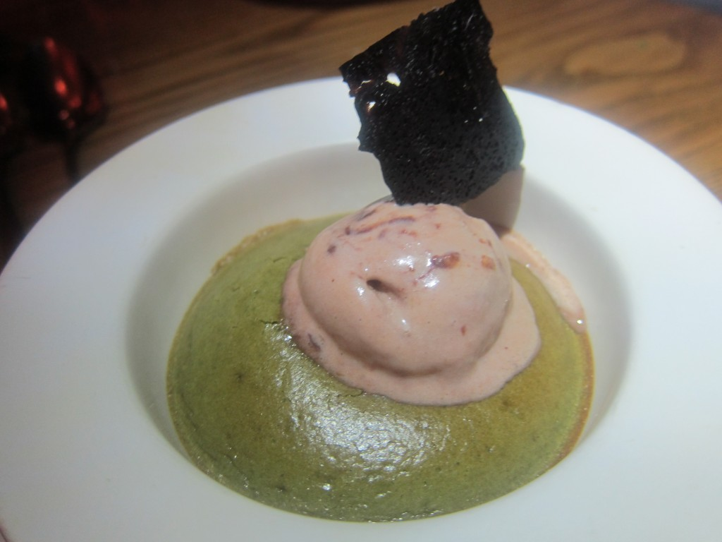Warm Pistachio Souffle with Amaretto and Hazelnut Gelato and Pine Nut Opaline