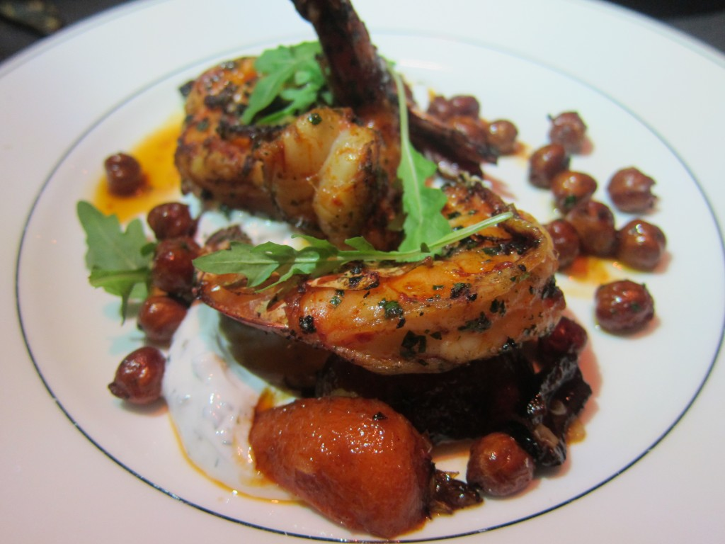 Grilled Shrimp with Moorish Carrots, Fried Chickpeas, Cured Black Olives & Mint Yogurt