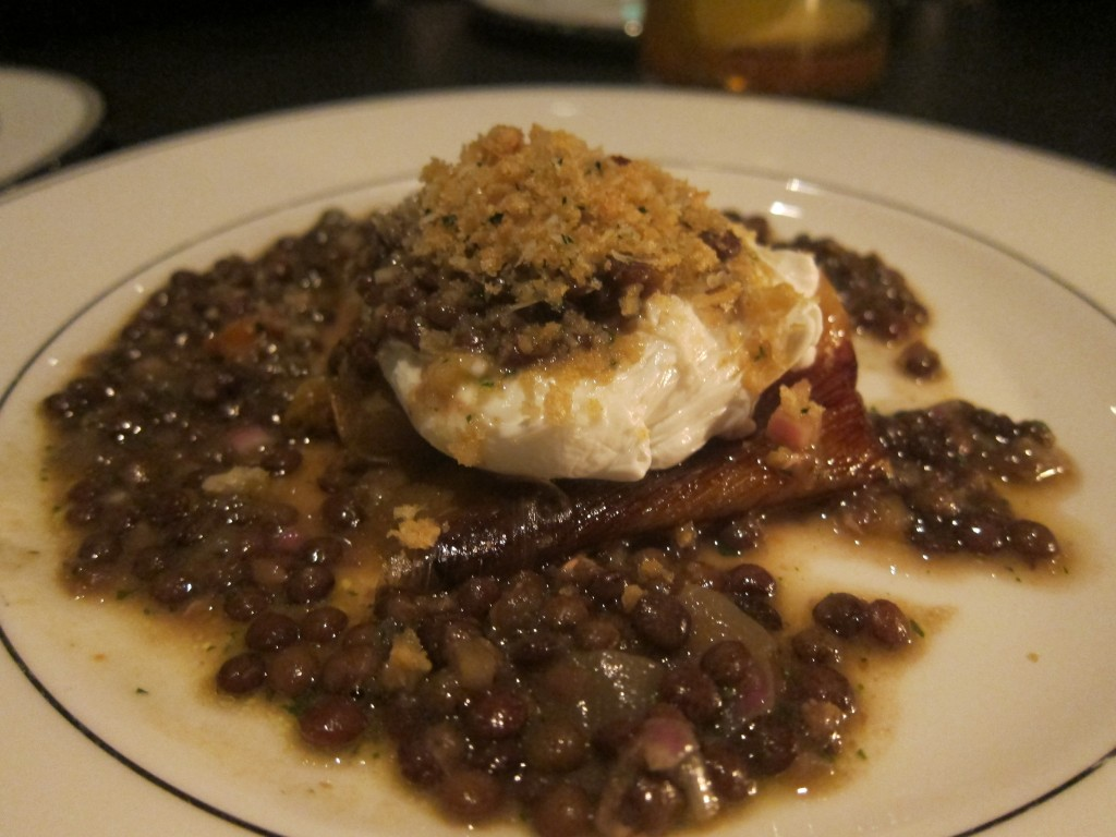 Poached Egg with Leeks, Lentils, Mustard Vinaigrette and Parmesan Breadcrumbs