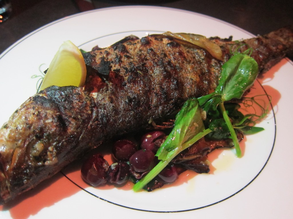 Grilled Branzino with Marinated Eggplant, Pea Tendrils and Olives
