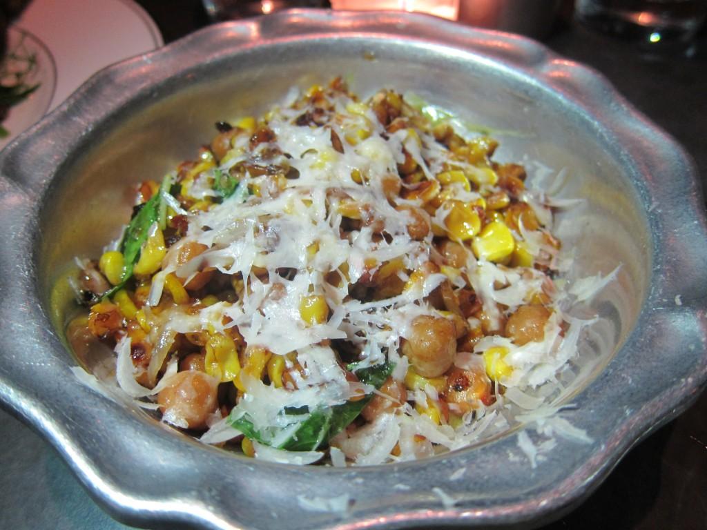 Sauteed Corn with Basil, Chili, Chickpeas, Dill Aioli & Pecorino