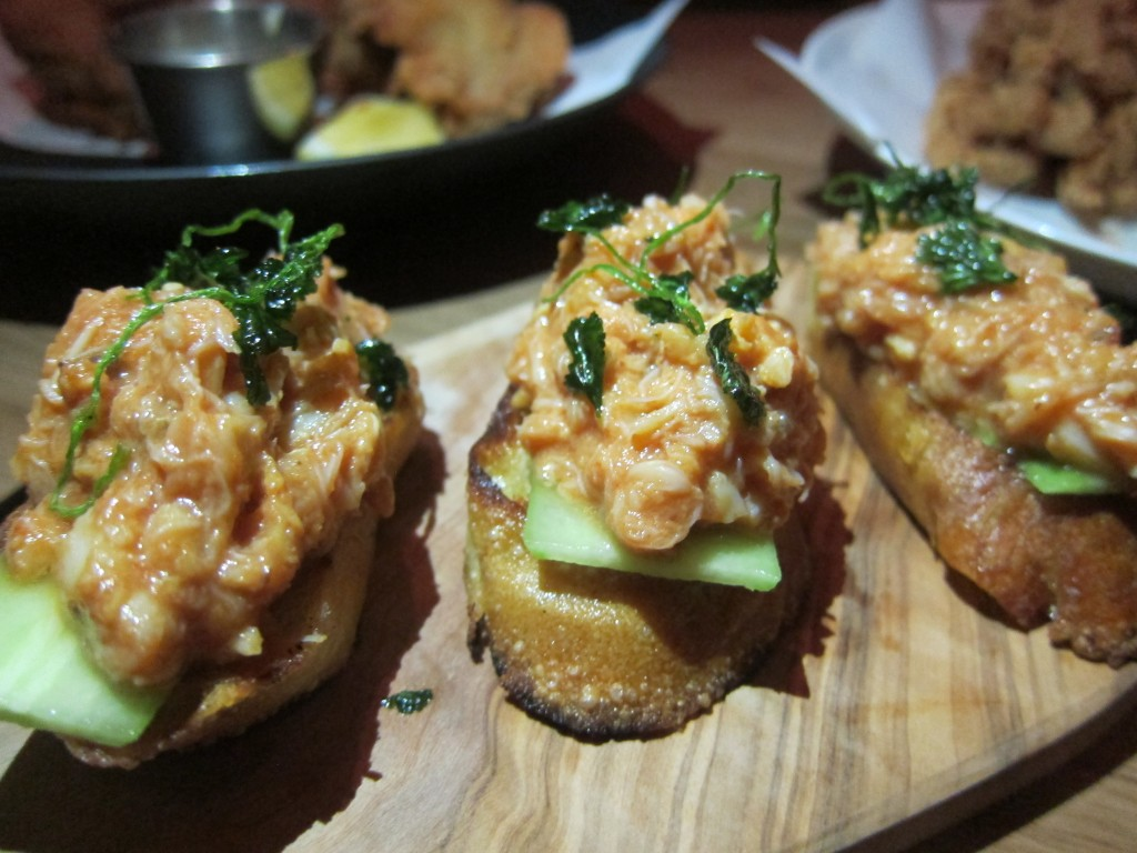 Chili Crab Toast with Spicy Cucumber and Coriander