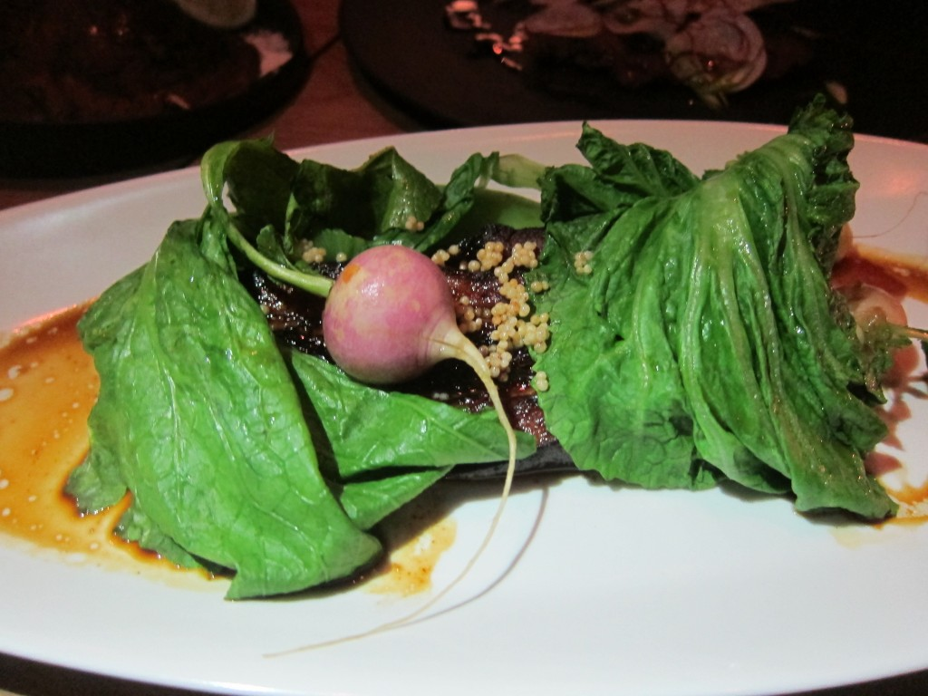 Caramel Braised Kurobuta Pork Belly with Radish and Mustard Greens