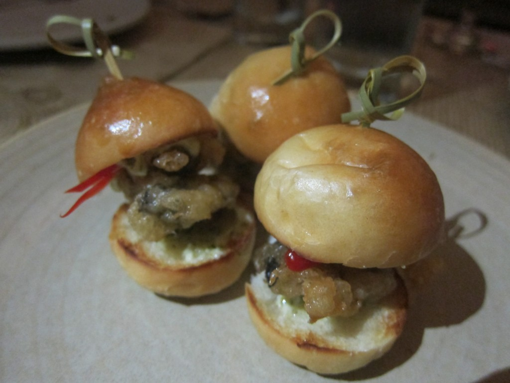 Crispy Oyster Sliders with Tartar Sauce and Pickled Hot Pepper