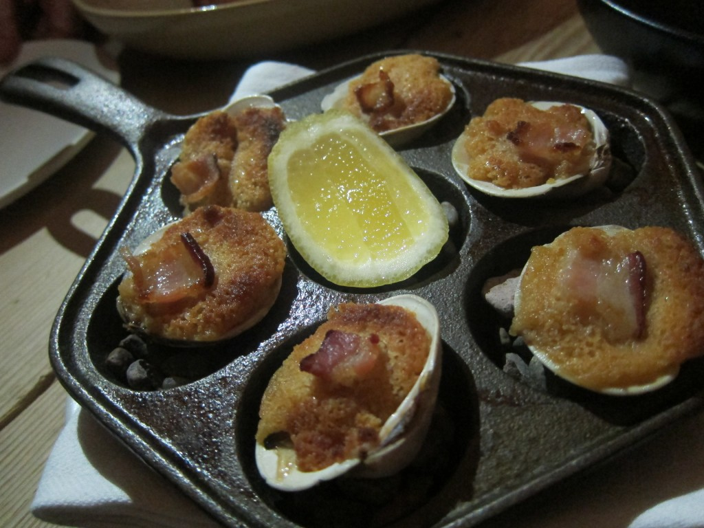 Clams Casino with cracker stuffing and bacon