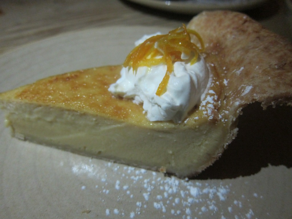 Buttermilk Maple Pie with whipped cream and candied orange zest