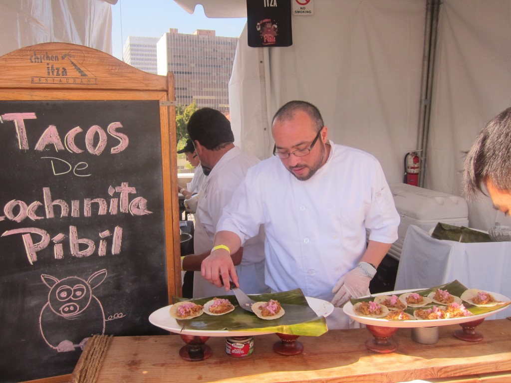 Gilberto Cetina from Chichen Itza served up Tacos de Cochinita Pibil