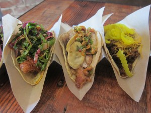 Maple Fried Chicken, Pork Belly, and Bison Chili Tacos from This cool restaurant is Silverlake
