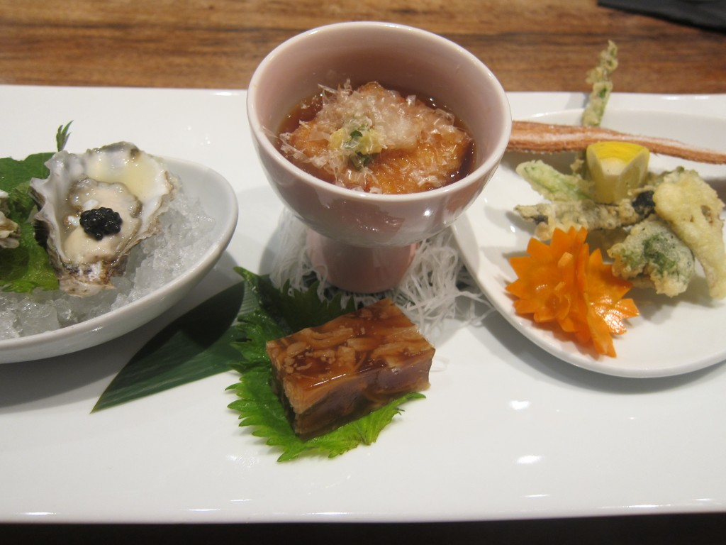 Uni Three Ways (Kumamoto Oysters with Uni and Caviar, Uni Goma Tofu with Jellied Tuna, and Uni and Vegetable Tempura