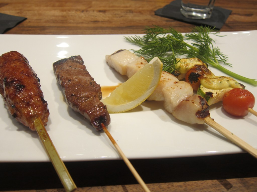 Assorted Sumiyaki (Miso Black Cod, Angus Beef, Tsukune, and Zucchini  with Cherry Tomato)