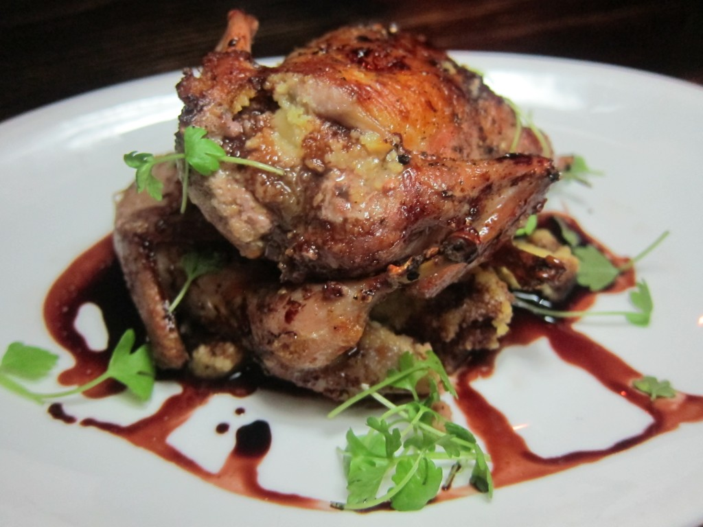 Cornbread Stuffed Quail with Red Wine Balsamic Reduction