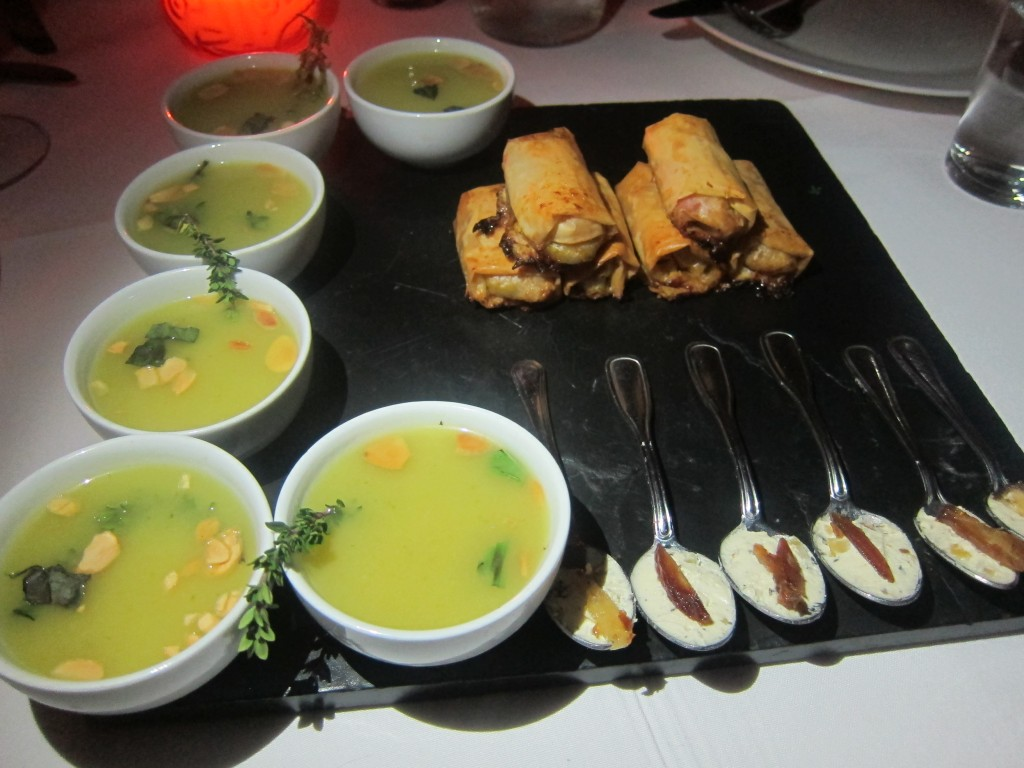 Amuse Bouche:  Asparagus Soup, Goat Cheese with Dates, and Vegetable Cigars