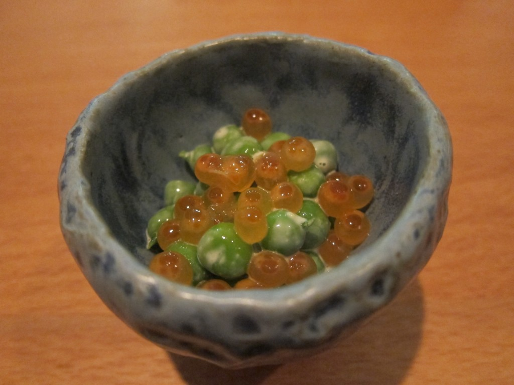 English Peas with Miso Marinade and Cured Salmon Roe