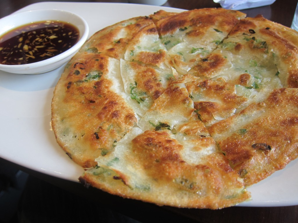 Scallion Pancake with Gingered Soy Dipping Sauce