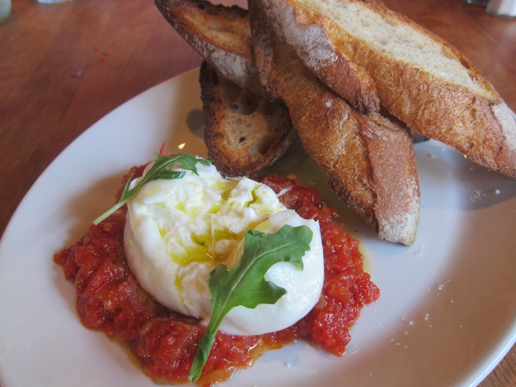Fresh Local Burrata with Roasted Tomato Jam, House-made Bread, Sea Salt and Arugula