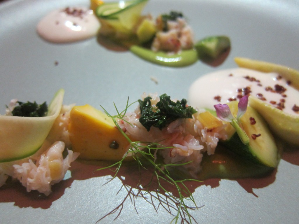 Dungeness Crab, Summer Squash, Almond Milk, Quinoa and Basil
