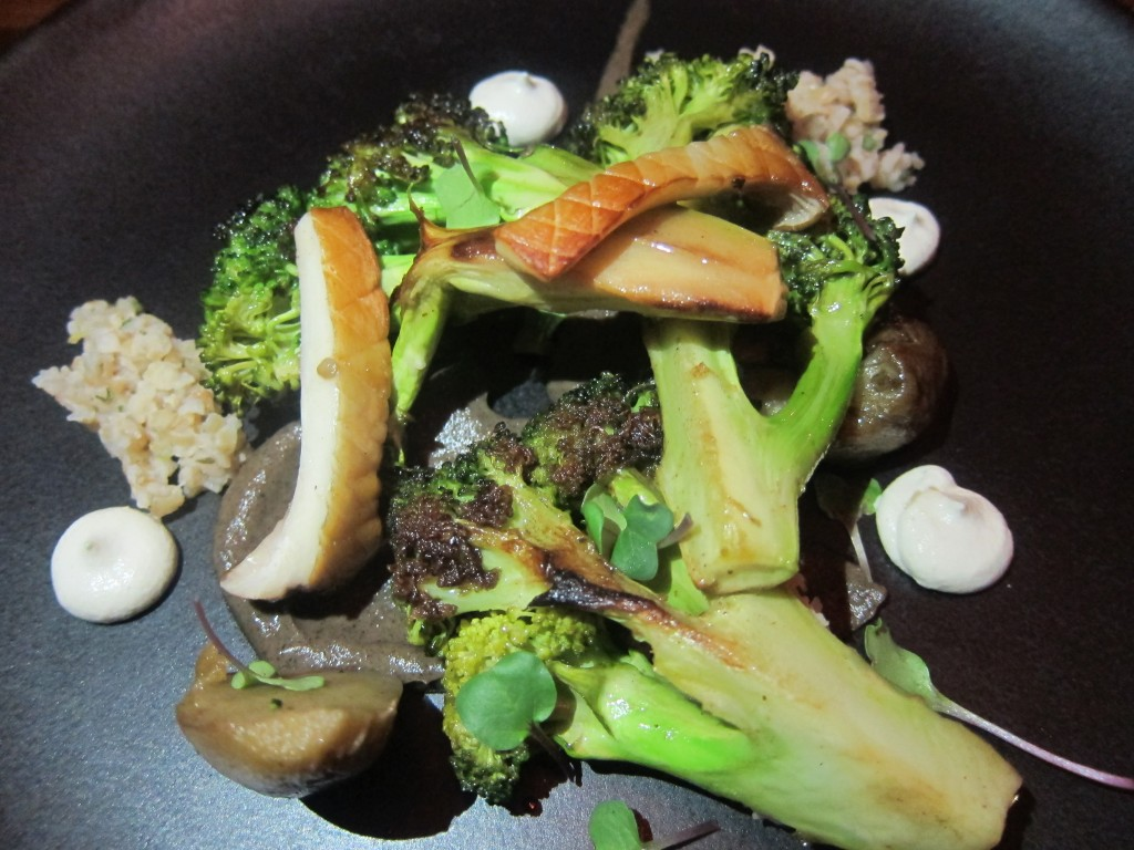 Charred Eggplant with Trumpet Mushrooms, Broccoli, Bulgur and Pine Nuts