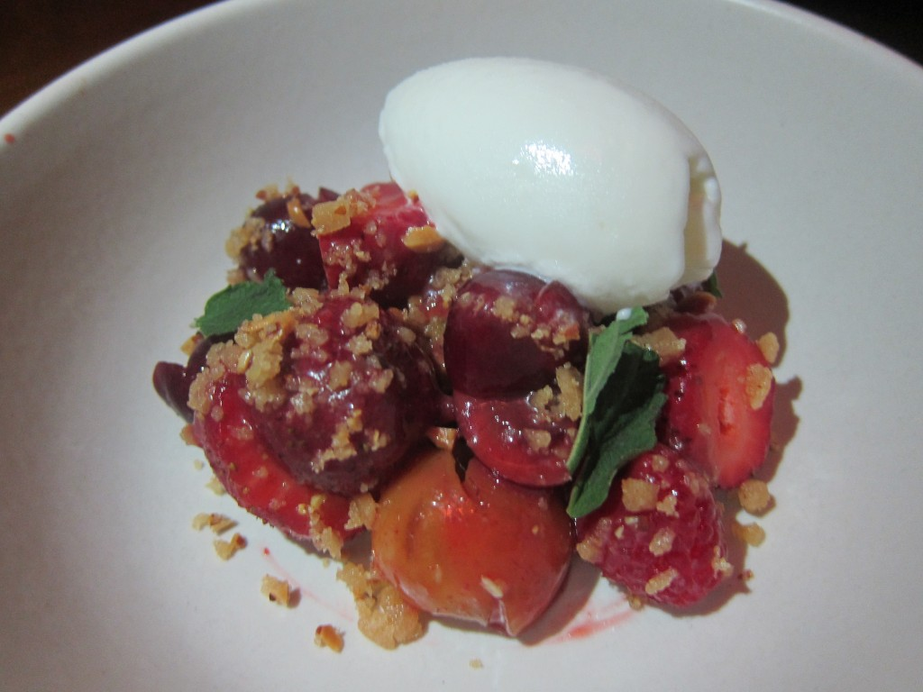 Warm Rye Bread Pudding with Red Fruits, Almond Brittle and Frozen Yogurt