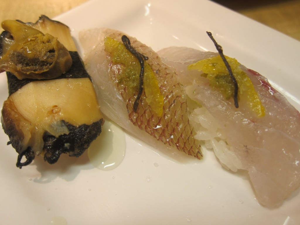 Baby Abalone Sushi, Baby Red Snapper Sushi and Japanese Sea Bass Sushi