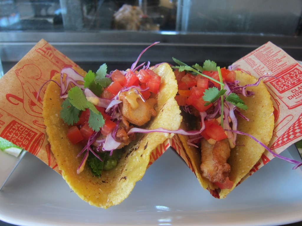 Beer Battered Mahi Mahi Fish Tacos with Red Cabbage and Spicy Crema with Lime and Cilantro on Housemade Corn Tortillas