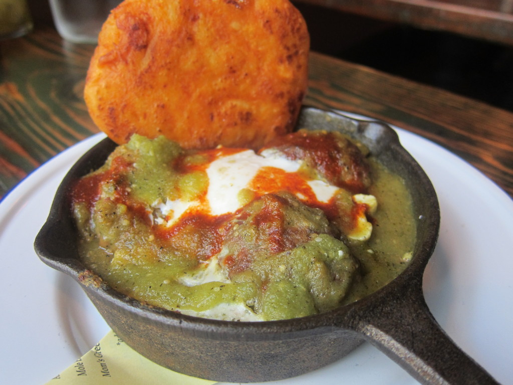 Albondigas with Corn & Sweet Potato Cake, Tomatillo and Baked Egg