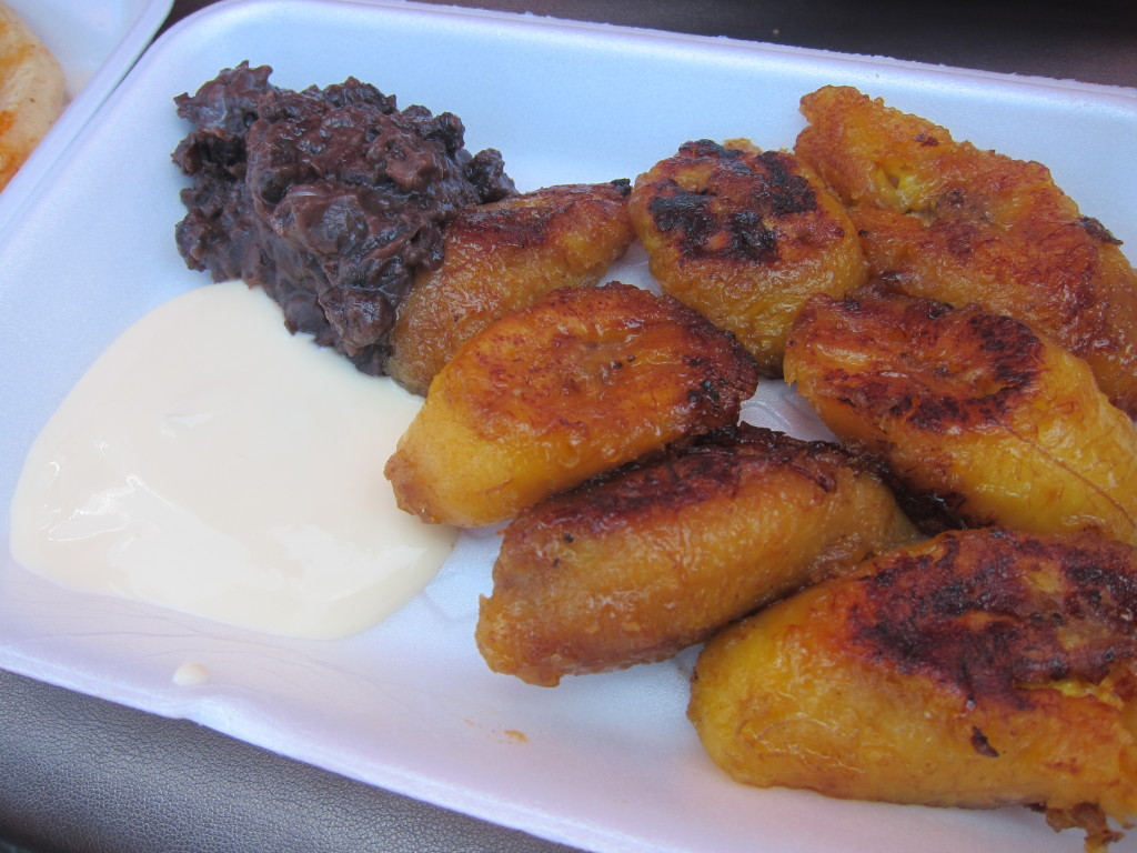 Fried Plantains with Black Beans and Crema