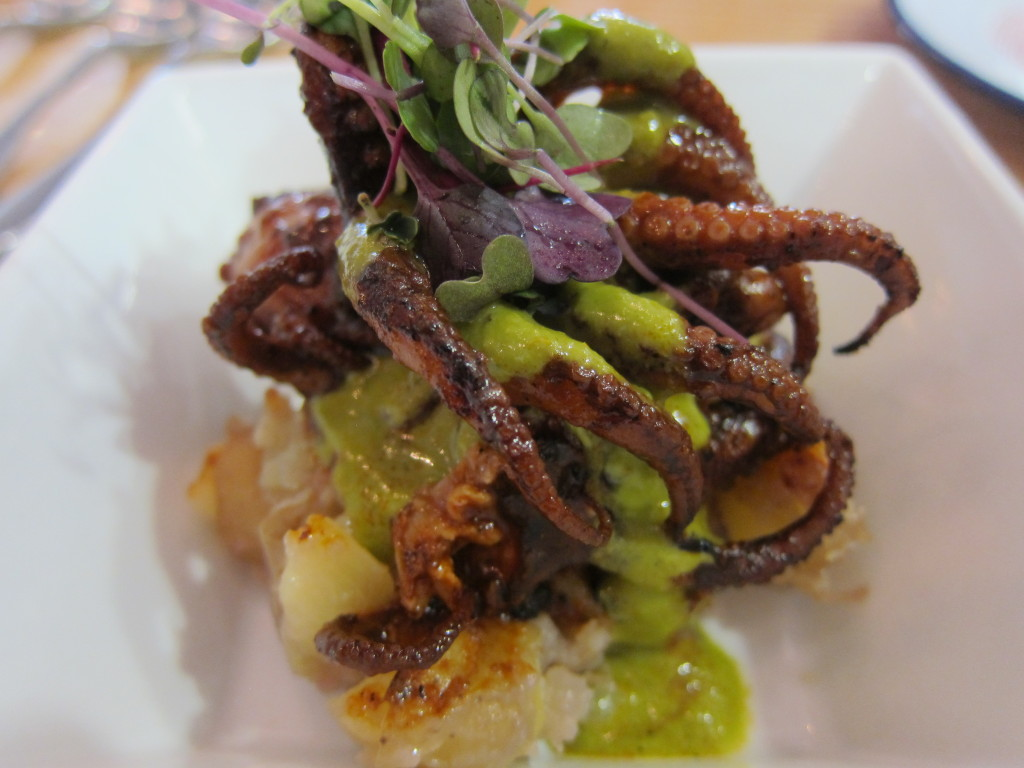 Anticucho de Pulpo (Grilled Octopus with Roasted Potatoes and Jalapeno Sauce)