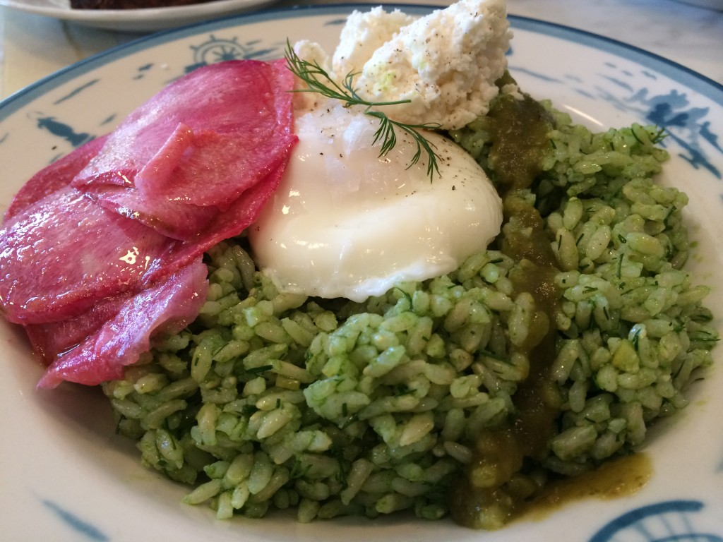Kokuho Rose Brown Rice, Sorrel Pesto, Preserved Meyer Lemon, Lacto Fermented Hot Sauce, French Feta and Poached Egg