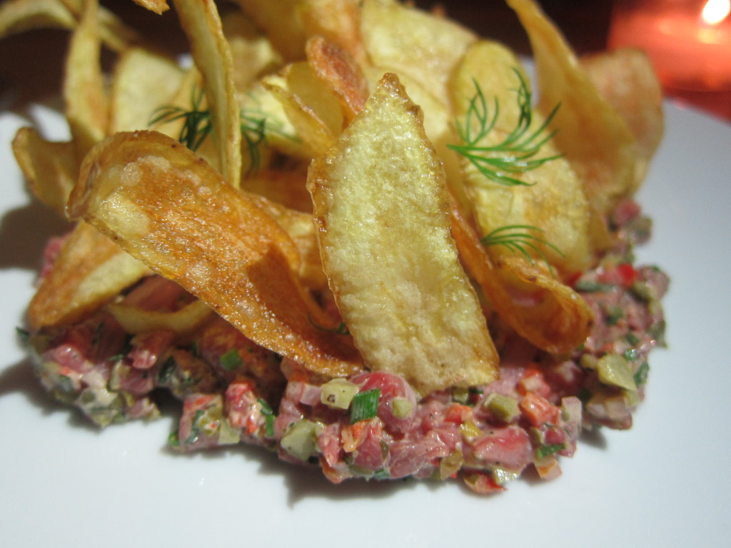 Grass-Fed Beef Tartare with Tarragon Aioli, Pickled Red Onion and Potato Chips