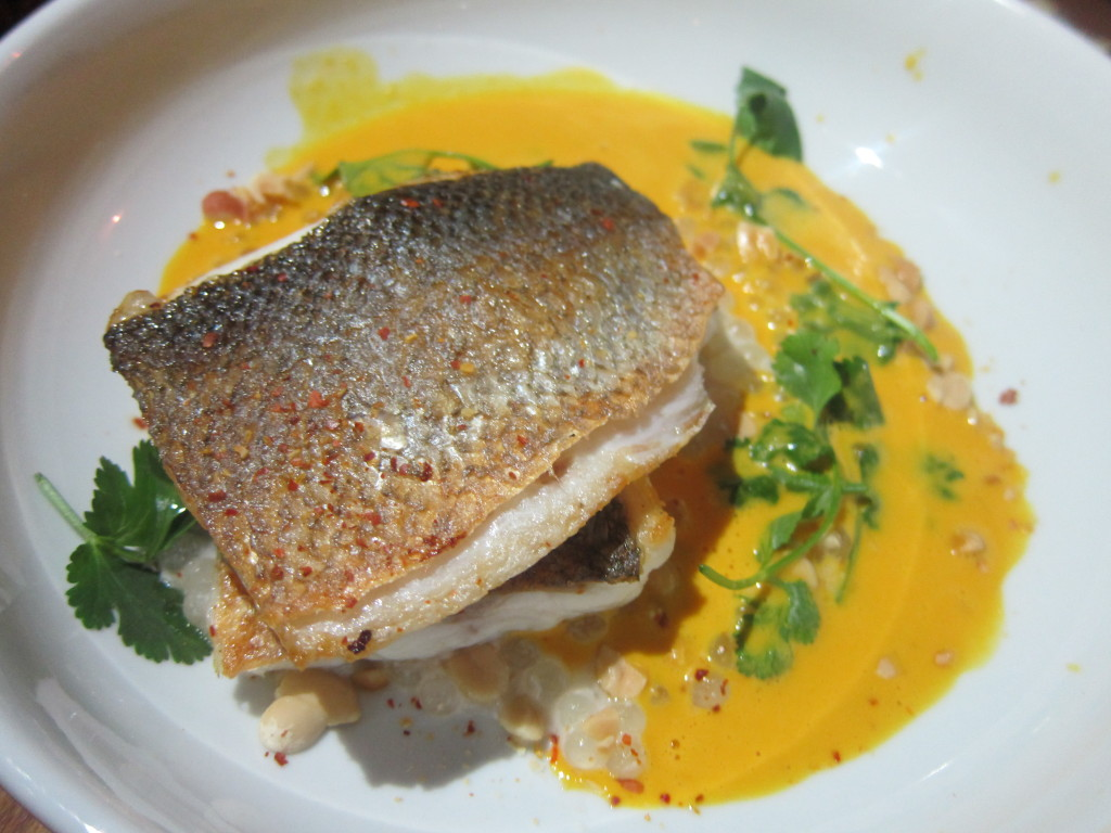 Mediterranean Branzino with Thai Curry, Carrot Coconut and Peanuts