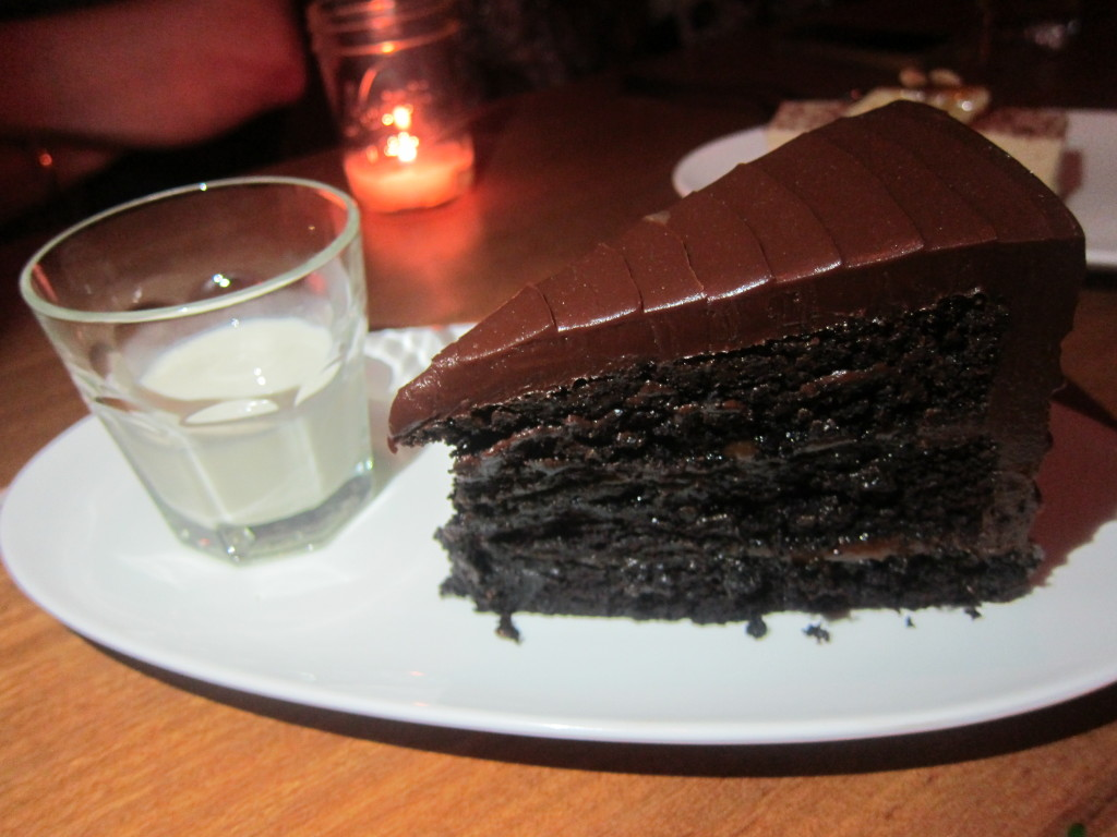 Salted Caramel Chocolate Cake with Milk Eau de Vie