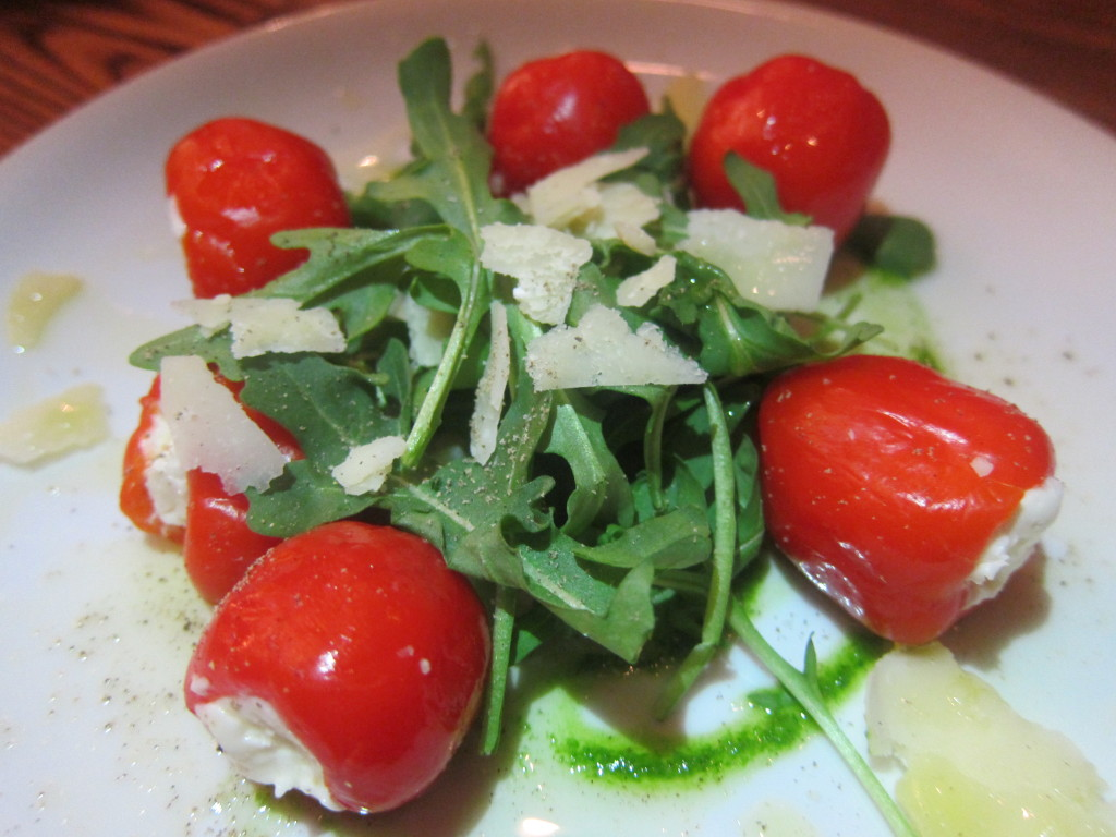 Peperu (Soft Cheese Stuffed Sweet and Spicy Peppers, Grana Padano and Arugula Oil)