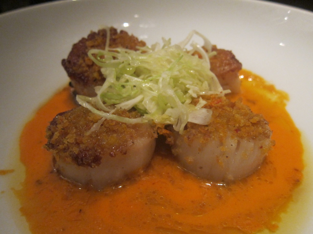 Cappe Sante (Pan Roasted Sea Scallops with Cabbage Salad, Aromatic Bread and Bell Peppers)