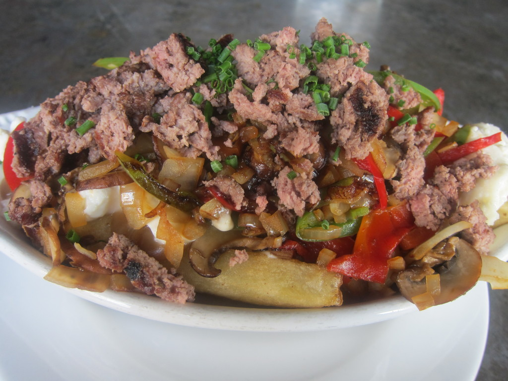Poutine with Ground Beef and Sauteed Onions, Peppers & Mushrooms