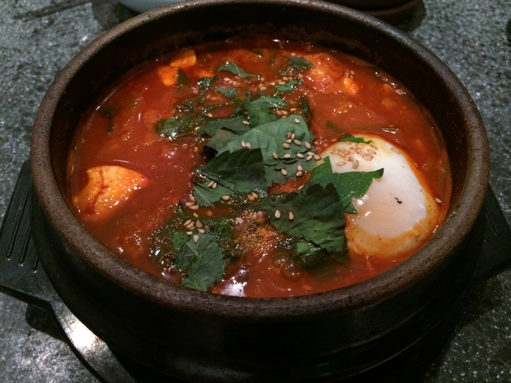 """Jamaal Wilkes"" Hot  Pot with Silky Tofu, Shrimp, Clams, Mussels, Kimchi, Scallion,  Pork Belly and Egg"