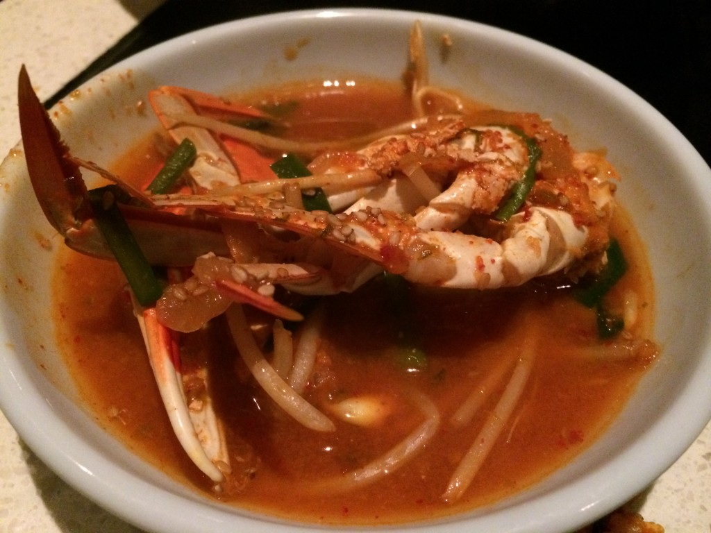 """Redondo Beach"" Hot Pot with Spicy Crab, Bean Sprouts, Sesame, Onions, Nira and Tofu"